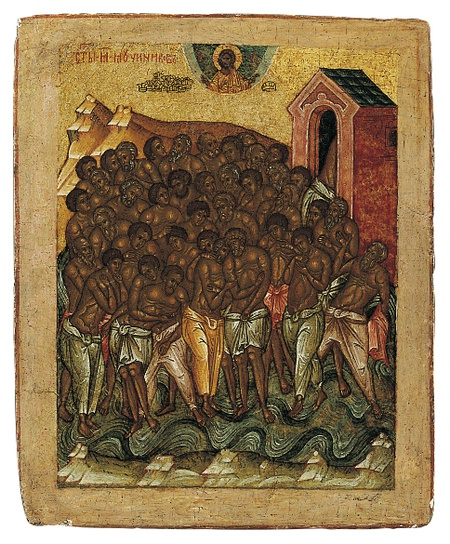 Work of the Week: Novgorod School Tabletka, The Forty Martyrs of Sebaste and the Four Men in the Fiery Furnace