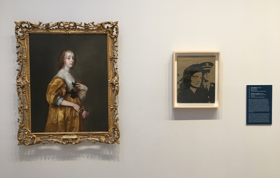 Work of the Week: Jackie (Gold) 1964 by Andy Warhol next to Timken's Anthony Van Dyck, Mary Villers, Lady Herbert of Shurland, 1636.