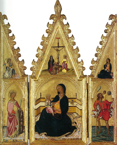 Full view of Madonna of Humility with St. Catherine and St. Christopher, The Annunciation, and the Crucifixion
