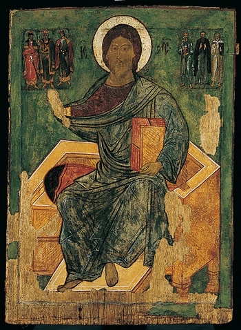 Thumbnail of 'Deisis: The Savior Enthroned, the Virgin Mary, the Archangel Michael, the Apostle Peter, St. John the Baptist, the Archangel Gabriel, the Apostle Paul'