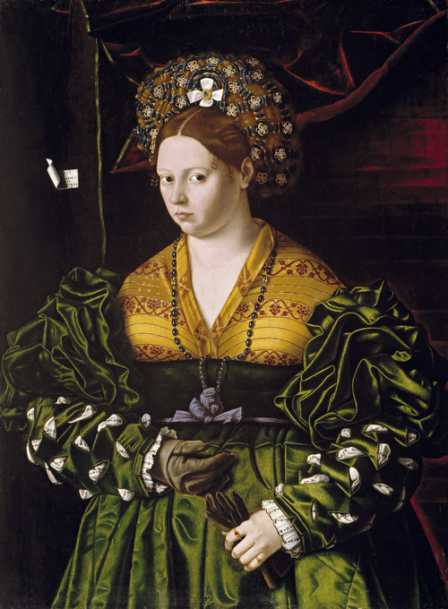 Full view of Portrait of a Lady in a Green Dress