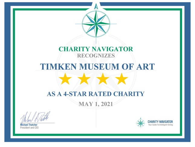 The Timken has 4 Stars on Charity Navigator!